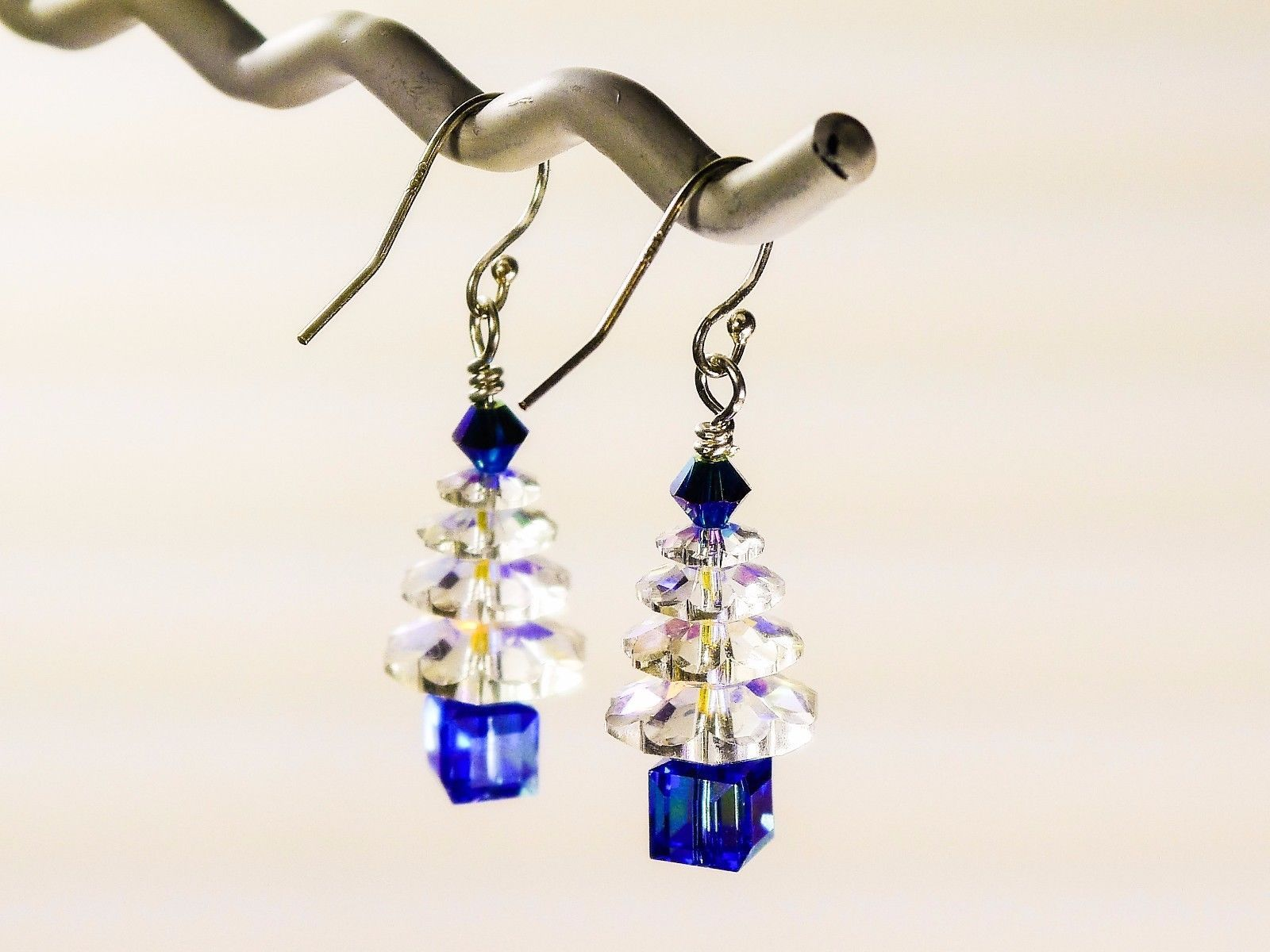 Christmas Tree Earrings / Blue/ made w/ Swarovski Crystals / 925 Sterling image 3