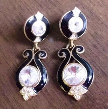 Signed Bijoux Designs NY Black Enamel Clear Rhinestone Dangle Earrings P... - $74.90