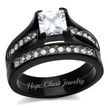 1.3 CT NO TARNISH BLACK STAINLESS STEEL PRINCESS CZ WEDDING RING SET SIZ... - $20.69