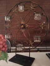 New, Heavy Bombay Iron scroll tea lite holder on pedestal. Candle holder... - $39.99