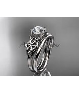 14kt white gold celtic trinity knot wedding ring, engagement set CT7169S - $1,025.00