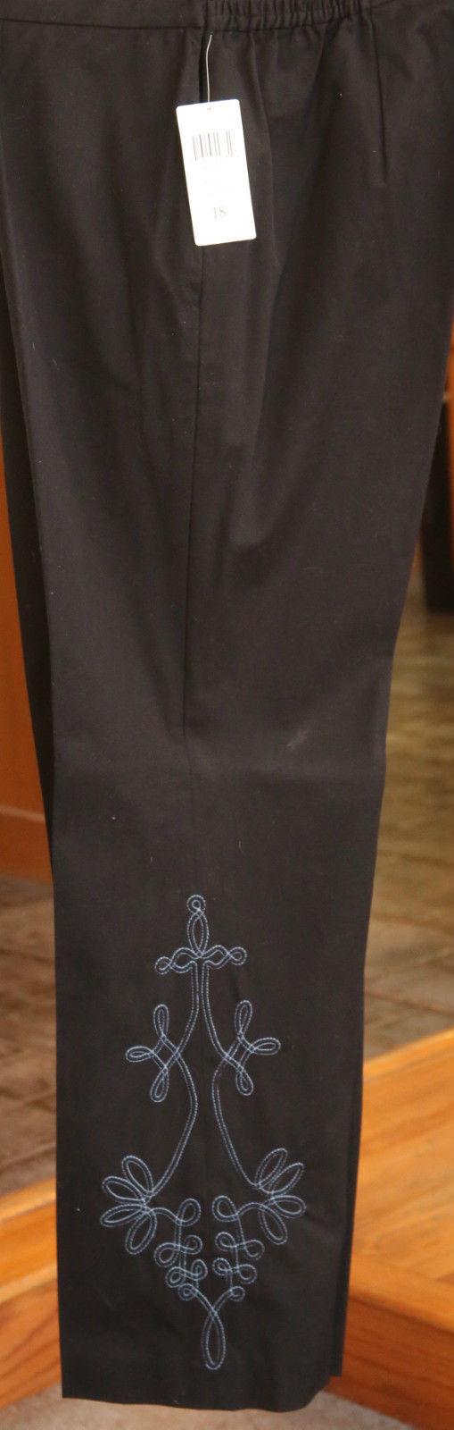 DANA BUSHMAN APHRODITE BLACK STRETCH DRESS PANT WOMEN 18 $198 EMBROIDERED NWT - $26.72
