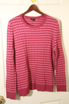 TALBOTS NWT PETITE PLUS 2XLP CREWNECK CABLE KNIT STRIPE PINK SWEATER COT... - $18.81