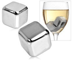 6 pcs Stainelss Steel Whisky Stone Set Cube Glacier Whiskey Chilling Rocks - £151.84 GBP