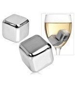 6 pcs Stainelss Steel Whisky Stone Set Cube Glacier Whiskey Chilling Rocks - £154.91 GBP