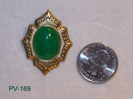 PV-169 - Jade Gem Stone Set in Brass Cabochon  ... - $25.74