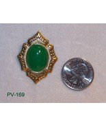 PV-169 - Jade Gem Stone Set in Brass Cabochon  ... - $25.74