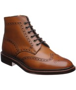 Handmade mens brogue wingtip ankle high leather boots, Mens dress leathe... - $179.99