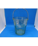 Vaseline Glass etched flower green ice bucket with metal handle. - $35.00