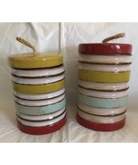 Home Accents Buoy-like Ceramic Canisters Hobby Lobby Striped (2) Decor N... - $69.29