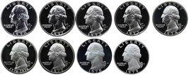 1970-1979 S Complete Set Washington Quarters Gem Proof Run 9 Coins US Mi... - $19.99