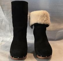 UGG Black Sheepskin Suede Wooden Heeled Boot LYNNEA, Style# 1955, Women ... - $89.00