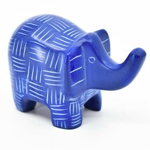 Vaneal Group Hand Crafted Carved Soapstone Blue Elephant Figurine Made Kenya image 1