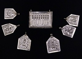 LOT 7 SILVER INDIAN DEITY ETHNIC SILVER OLD TRIBAL AMULET PENDANT PATRI ... - $44.54