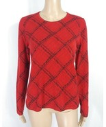 Charter Club 100% 2-Ply Cashmere Red Black Tartan Plaid Soft Pullover Sw... - $25.00
