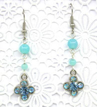 Women New Clover Aquamarine Swarovski Elements Crystal Gemstone Pierced ... - $30.77 CAD