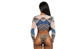 Women's Long Sleeves Crop Top Bikini Set image 9