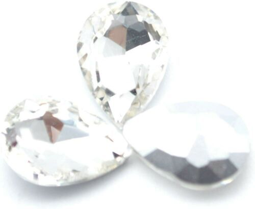 Primary image for 10 Pointed Back Rhinestones Diamond Faceted 14mm Clear Machine Cut Foil Back
