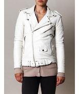Women White Biker Style Leather Moto Jacket - $119.00+