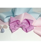 Embellished hair bow.Clip in crystallised with pearls pink Party princes... - $7.42