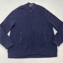 Tasso Elba Zip Up Knit Sweater Men's 2XL XXL Long Sleeve Navy 100% Cotto... - $18.95