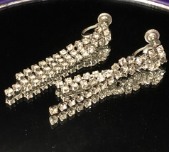 VTG 40s/50s Clear Rhinestone 3 Strand Art Deco Dangle Silver Tone Screw ... - $17.10