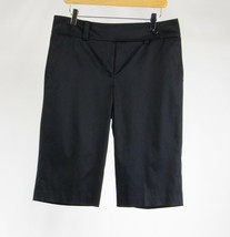 Black cotton blend ANN TAYLOR stretch straight leg cropped capri pants 8 - $11.24