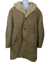 Knights Tailors Shearling Sheepskin Rancher Wool Coat Beige Tan Size 44 ... - $128.69