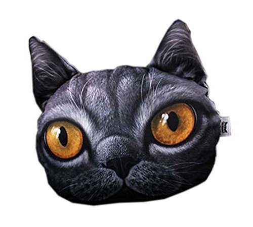 PANDA SUPERSTORE 3D Cute Pet Dogs and Cats Face Head Pillow, Black Cat
