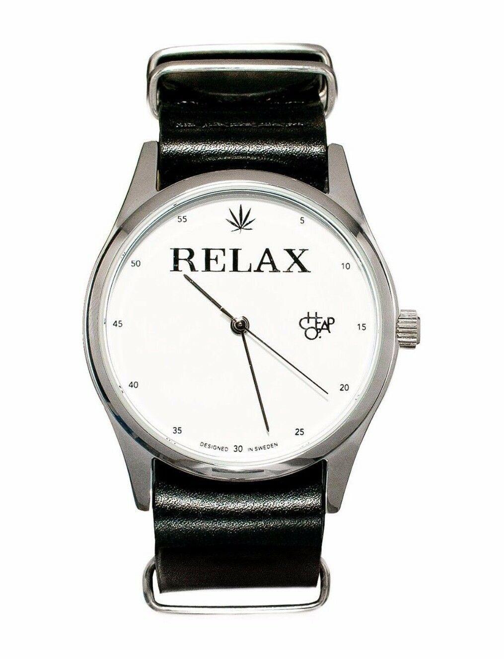 Cheapo CHPO 420 Marijuana Relax Black Leather Strap 14227QQ Analog Wrist Watch