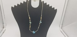 Vintage Silver Necklace With Turquoise Stones And Mother Of Pearl Beads - $19.32