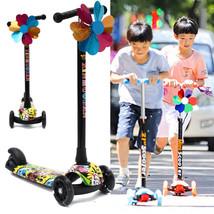 BIKIGHT Kids Folding Flashing 3 Wheels Tricycle Kick Push Children Scoot... - $83.98