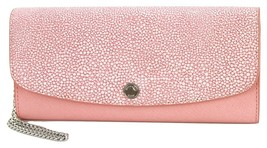 Michael Kors Flap Purse Wallet Wristlet Leather Pale Pink Large - £165.72 GBP