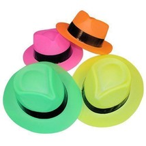 12pk Assorted  Neon Plastic Fedora Gangster Hats Photo Booth Props Party Favors - $11.26
