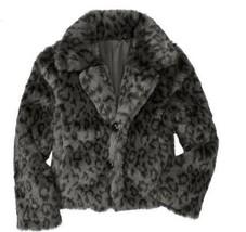 GAP Girls Bryant Park Faux Fur Black Gray Leopard Coat Jacket XS 4 5 Dressy Fun - $56.99