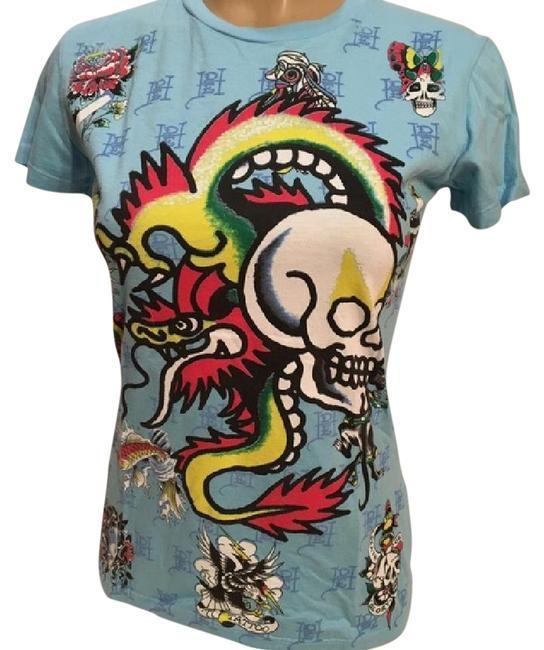 42a1b92b8 Ed Hardy Blue Dragon Skull Print tee T shirt and 50 similar items