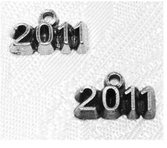 YEAR FINE PEWTER PENDANT CHARM  2x8x13mm (2009, 2010, 2011, 2013 You Choose) image 3