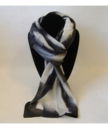 Hand Painted Silk Scarf Black White Unique Oblo... - $44.00