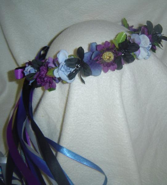 Jessie Silk Flower Head Wreath Blue Purple Renaissance