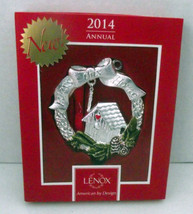 Bless This Home Lenox 2014 Ornament Birdhouse Wreath Silver Boxed Christmas NIB - $24.74