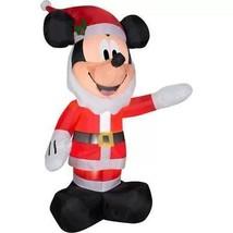 5' Airblown Inflatable Mickey Mouse in Santa Beard ChristmasYard Decor - £35.98 GBP