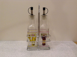 Oil and Vinegar Glass Bottle Set with Metal Stand Display