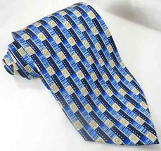 Cravatte Valentino Mens 100% Silk NeckTie Made in Italy Blue Geometric EUC - €20,05 EUR