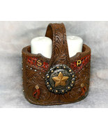 Tooled Leather Look Country Western Salt and Pepper Shakers - $16.98