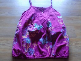 Girls Size XS 7-8 Mudd Magenta Pink Floral Butterfly Summer Tank Top Shi... - £9.20 GBP