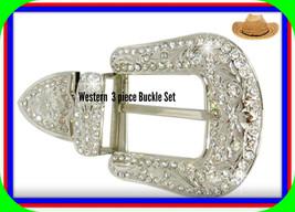 3 pc set Lg Western Silver  U Cowgirl Cowboy Rhinestone Belt Buckle End ... - $24.99