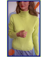 L Large WAINSCOTT Green Cable Turtleneck Sweater SHIRT TOP PULLOVER BLOU... - $14.84