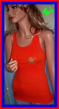 NEW L LARGE Jr Bright Orange Ribbed Floral Embellished Racerback T-Shirt... - $7.91