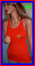 NEW M Medium  Jr Bright Orange Ribbed Floral Embellished Racerback T-Shi... - $7.91