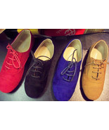 NEW Womens Suede Like Oxford Lace Ups Ballet Flat Loafers Solid Comfort ... - $19.99